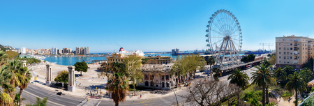 panorama of Malaga sea coast, center of city