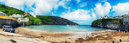 panorama of harbor  Port Isaac, Cornwall Stock Photo