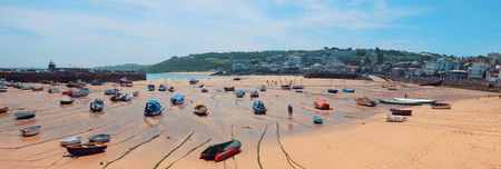 Panorama or St.Ives beach line, Cornwall Editorial