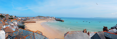 st: St.Ives panorama, harbor and beach, Cornwall Stock Photo
