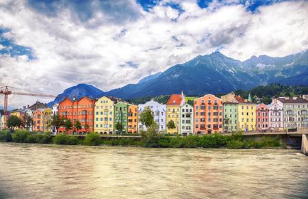 row of building by river Inn, Innsbruck, Austria