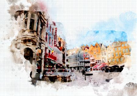 town life in watercolor style - Antwerpen, Belgium