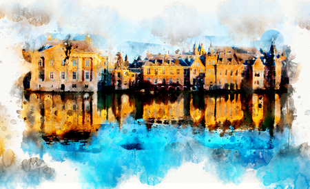 town life in watercolor style - the Hague, the Netherlands Stock Photo