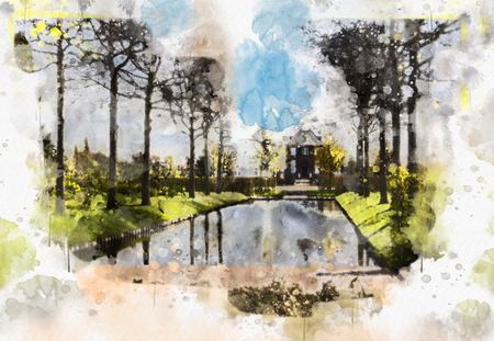 city life in watercolor style - Voorburg, the Netherlands