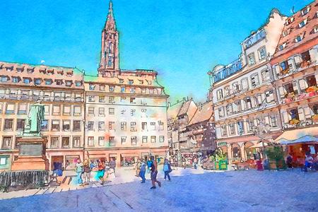Strasbourg, region Petite-France, watercolor style 写真素材