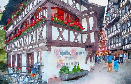 morning  in Strasbourg , region Petite-France, watercolor style 写真素材