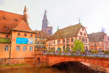 Strasbourg, region Petite-France, watercolor style Stock Photo