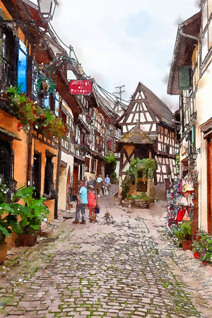 Equisheim  village in Alsace countryside, watercolor style Stock Photo