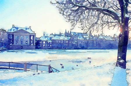 historical center of the Hague, watercolor style