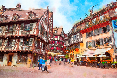 street in Colmar town, France, watercolor style