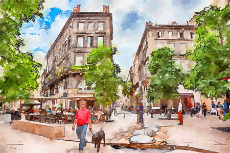 Street life in Bordeaux in old center, watercolor style Stock Photo