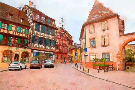 Colmar town, France, watercolor style