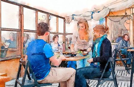 people by beach terrace cafe, watercolor style