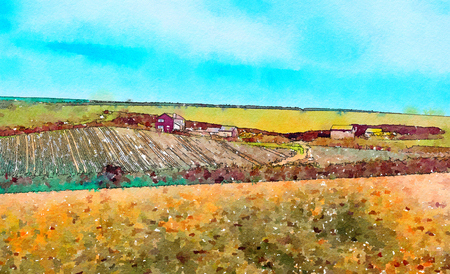 country side  in Cornwall, UK, watercolor style
