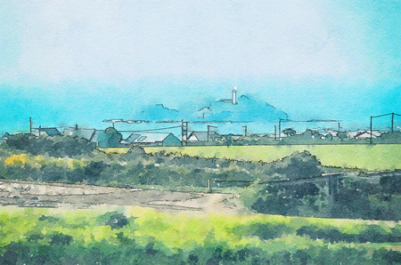 Godrevy Lighthouse in Cornwall, England, watercolor style