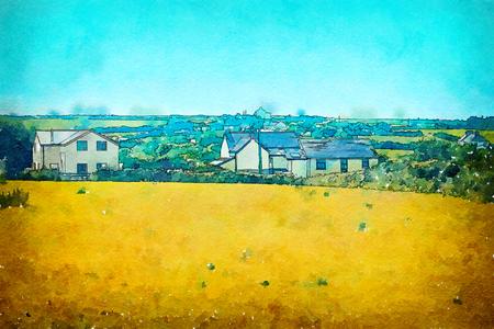 summer landscape in Cornwall, watercolor style Banco de Imagens