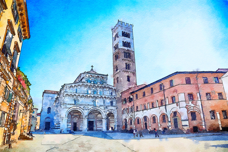 Italy life in Lucca , San Martino Cathedral