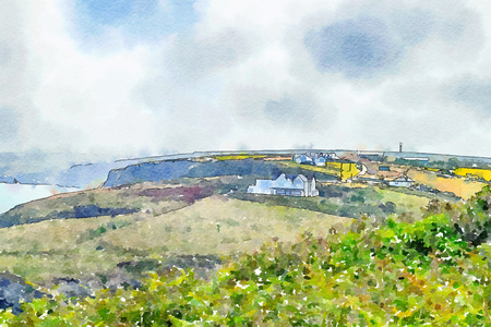 summer landscape in Cornwall, UK, watercolor style