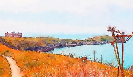 Atlantic ocean view in Newquay , watercolor style