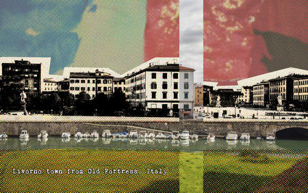 Livorno town from Old Fortress,  Italy , retro card 版權商用圖片