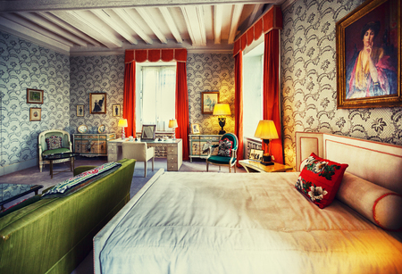 Kent, England, june 28 2016, interior of one of bedroom at Leeds Castle Редакционное