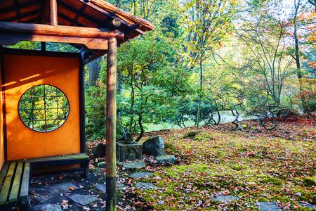 autumn in Japanese park, small tea house, the Hague