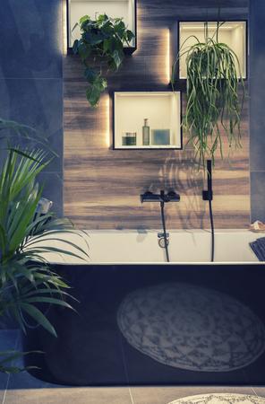 modern interior of bath room with plants Фото со стока
