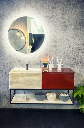 modern mirror decoration in  interior of bath room Фото со стока