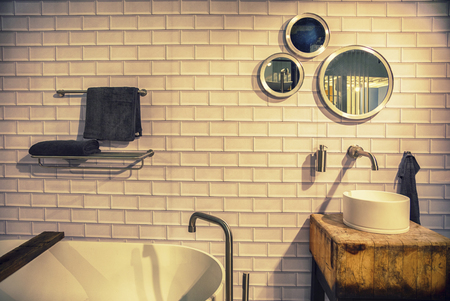 detail of bathroom in ecological style Фото со стока