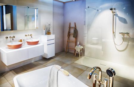 interior of modern empty bathroom