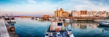 panorama of evening  Monopoli city port, Italy 스톡 콘텐츠
