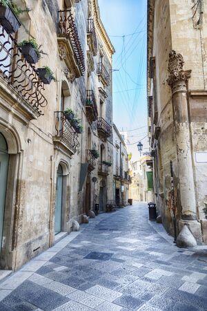 street Guglielmo Paladini in the old center of Lecce, region Puglia, Italy