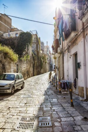 street near sea port in the old center of Brindisi, region Puglia, Italy 스톡 콘텐츠