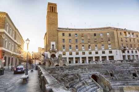 evening square of Roman amphitheatre of Lecce, Puglia, Italy