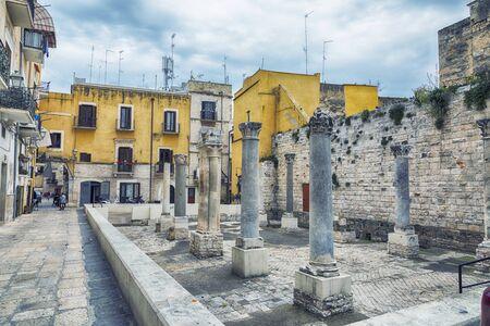 street life near Ruins of Santa Maria del Buonconsiglio ( Between the 9th and 10th century) in  Bari, region Puglia, Italy 스톡 콘텐츠