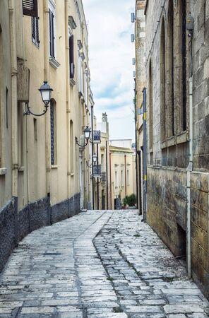 street near sea boulevard in the old center of Brindisi, region Puglia, Italy