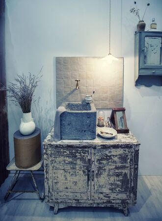 detail of toilet room with stylish washstand