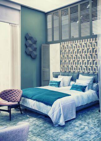 interior of bedroom in retro style