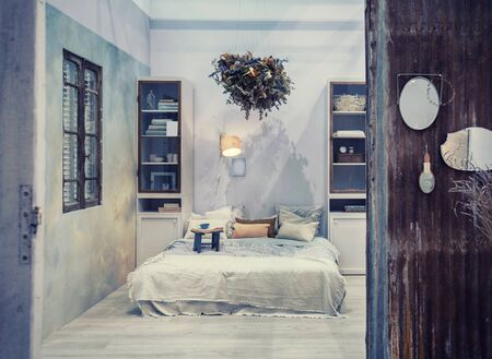 interior of bedroom in country style with seasonal decoration
