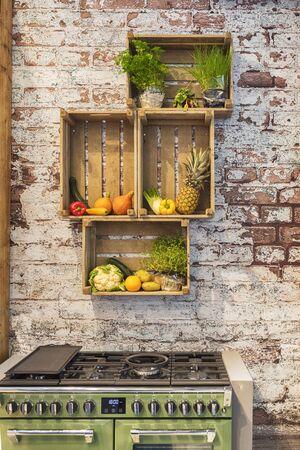 detail of seasonal kitchen decoration