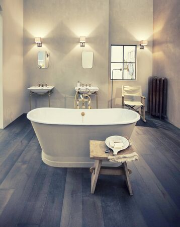 design of interior of bathroom in country style