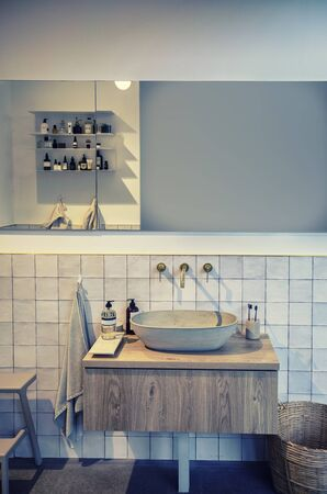 detail of interior of toilet room with stylish sink