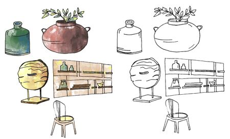 furniture isolated objects, traced sketches and digital watercolor