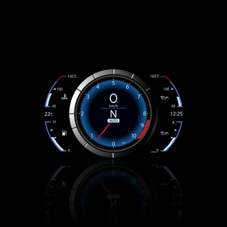 Realistic sport car vector speedometer. Dashboard lights. Speed concept. Speedometer vector illustration. Vector techo background.