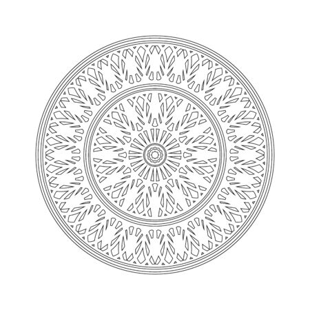 Mandala. Round Element For Coloring Book. Black Lines on White Background. Abstract Geometric Ornament. Vector illustration. Isolated on white. 矢量图像