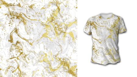 Gold and white marble seamless pattern. Ideal for fabric, wallpaper, textile, bedding, t-shirt print.Vector illustration. Isolated on white background