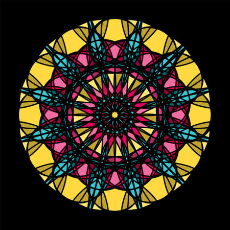 Flower Mandalas. Vintage decorative elements. Oriental pattern, Islam, Arabic, Indian, turkish, pakistan, chinese, ottoman motifs. Vector illustration. Isolated on black. Vectores