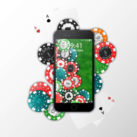 Gambling on mobile phone, chips, playing cards. Online Casino. Vector illustration. Isolated on white background. Vektorgrafik