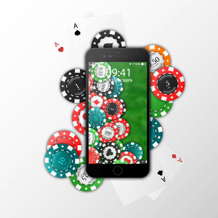 Gambling on mobile phone, chips, playing cards. Online Casino. Vector illustration. Isolated on white background. Vektorové ilustrace
