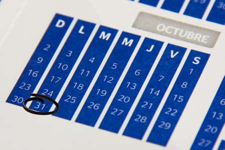Calendar in october